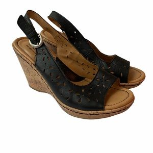 BOC black cork wedge sandals size 6